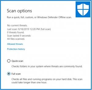 Windows Defender Security - Scan Option